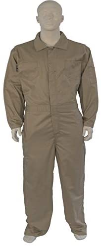 2X LARGE FLAME RESISTANT KHAKI COVERALLS Sizes Range From Small to 6X. Available in Khaki and Navy.