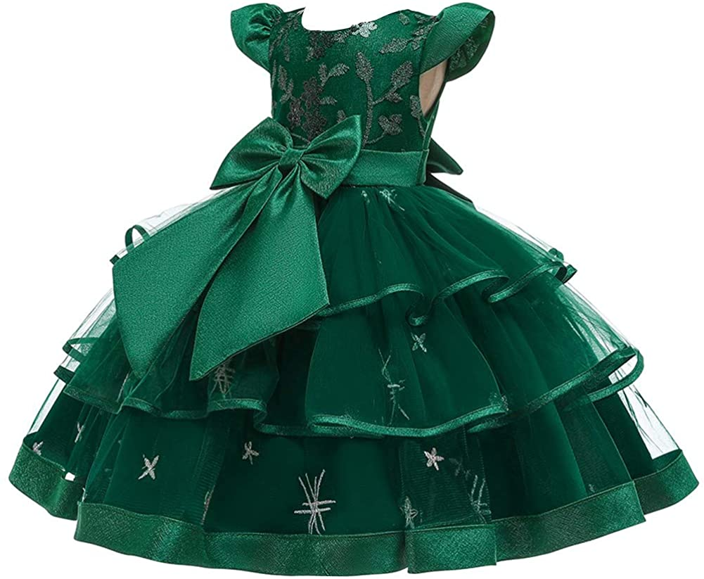 WOCINL Girls Embroidery Bowknot Dress Cap Sleeves Princess Ruffle Tulle Tutu Prom Pageant Wedding Birthday Party Ball Gowns