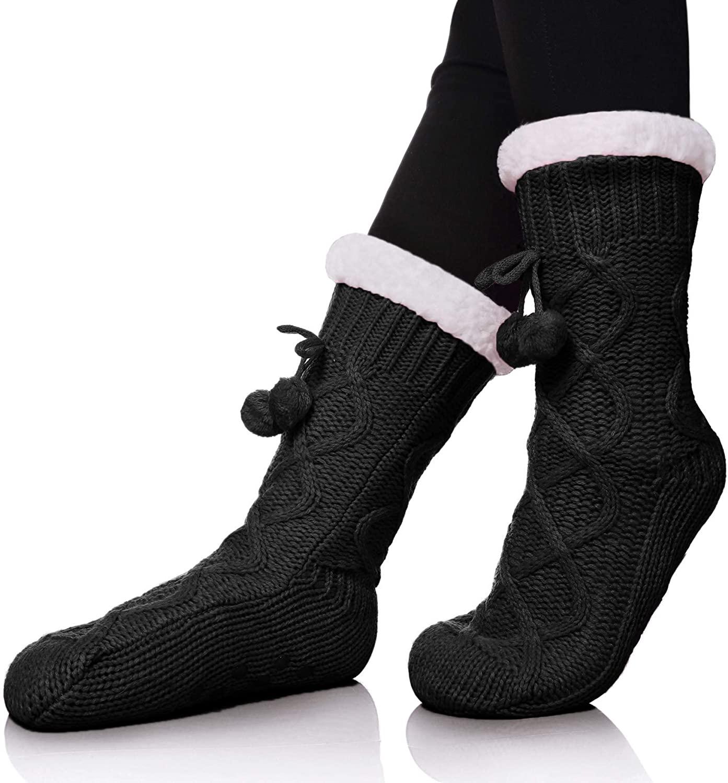 ZaYang Womens Winter Super Soft Knit Fuzzy Cozy Fleece lined Warm Non-Skid Slipper Socks