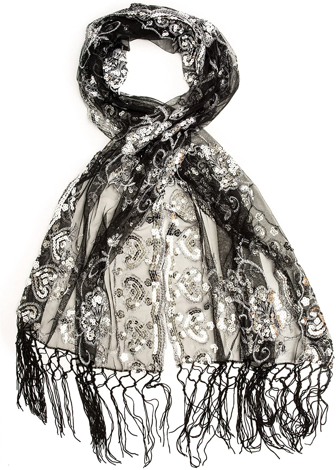 Bohomonde Madison Shawl, Long Fringe Sequin Evening Wrap