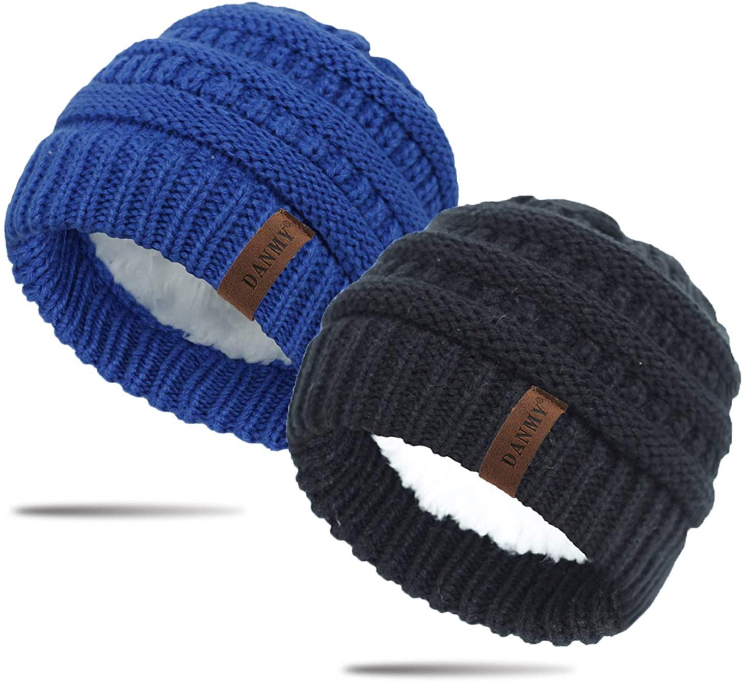 DANMY Baby Beanie Hat,Fleece Lined Infant Newborn Toddler Winter Warm Knit Cap for Little Boys Girls, Winter Warm Hat