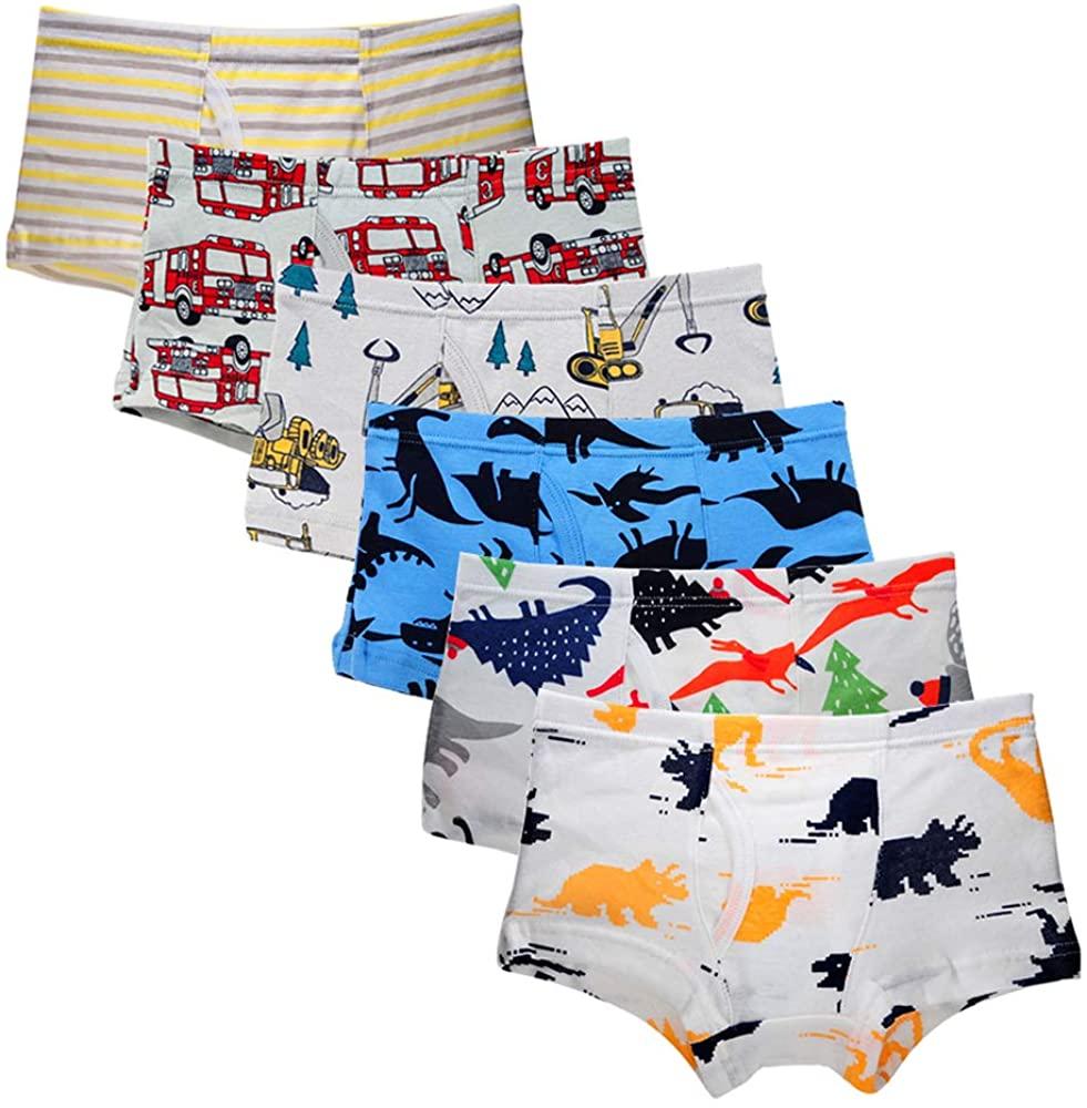 Bossail 2-7 Years Kids Soft Cotton Toddler Underwear 6-Pack Little Boys Assorted Boxer Shorts Briefs