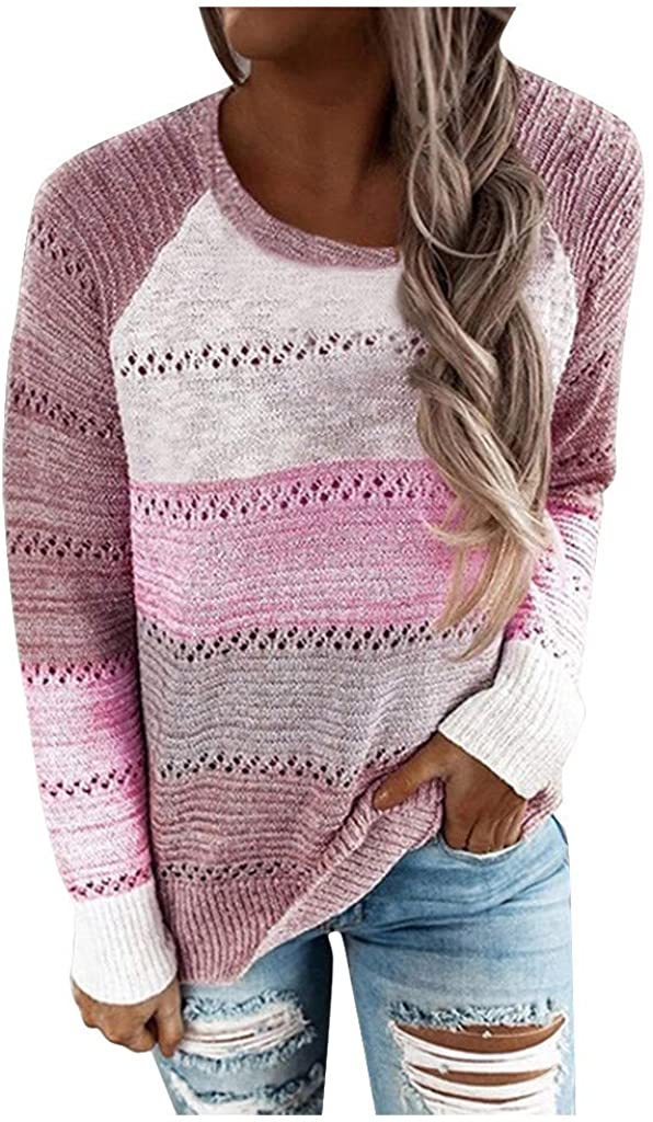 Women's Sweater, Womens Color Block Striped Pullover Sweatshirts Casual O-Neck Long Sleeves Sweater Blouse Tops