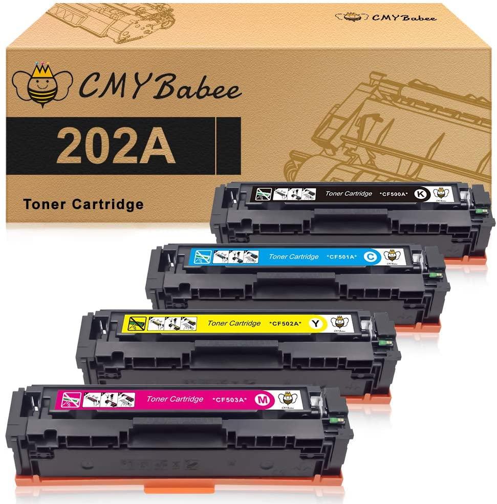 CMYBabee Compatible Toner Cartridges Replacement for HP 202A HP CF500A for HP Laserjet Pro M281fdw M254dw M254dn M254nw M281dw MFP M281fdn M281cdw M281 M254 (Black, Cyan, Magenta, Yellow)