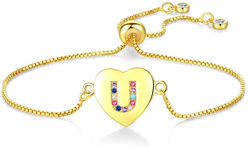 kelistom Initial Heart Charm Colorful Rhinestone Inlay 18K Gold Plated Bracelets for Women Fashion Bracelet with Letter Alphabet Foot Jewelry with Adjustable Chain