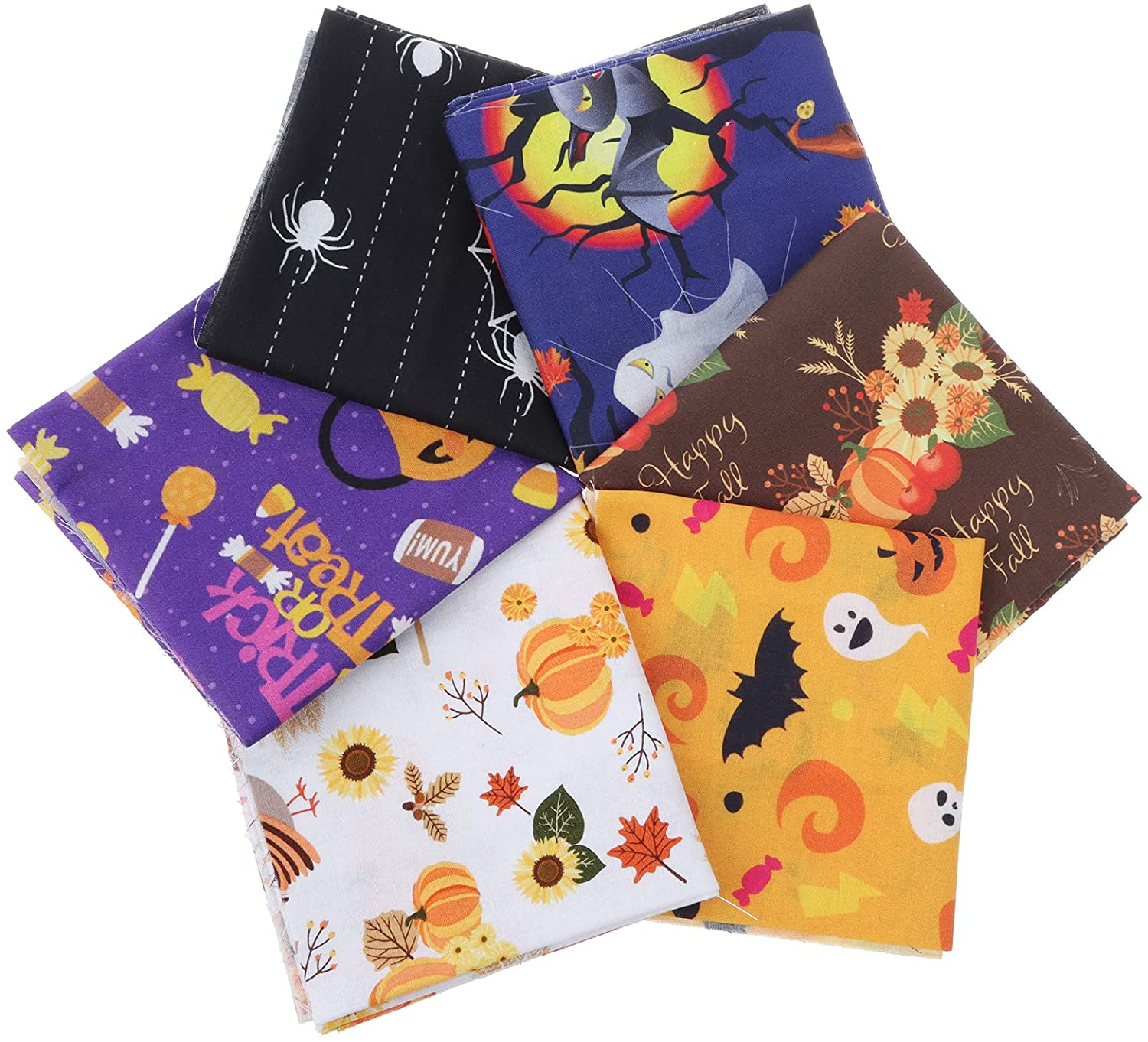 Halloween Cotton Fabric Bundles Sewing Solid Color Square Fabric Scraps Sewing Fabric for DIY Craft Party Supplies, 6 Style (6pcs/50x50cm)