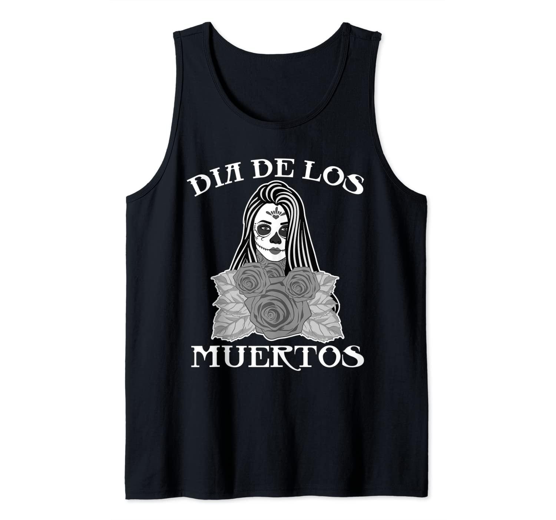 Skull Mexico Dia de los Muertos Mask Creepy Lady Tank Top