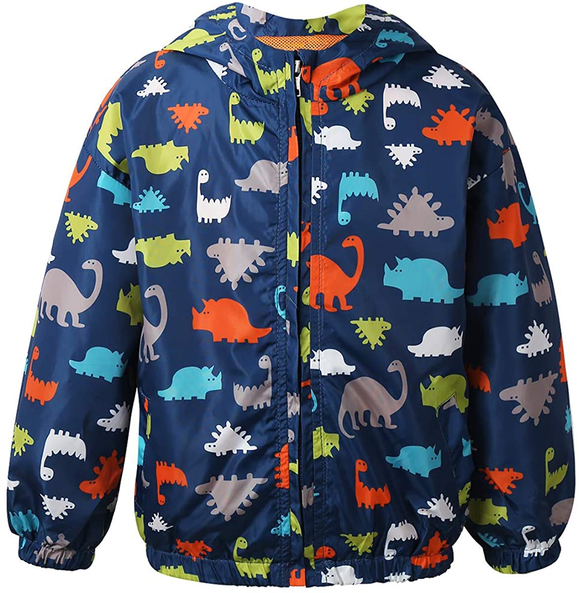 Alvivi Toddler Baby Boys Cartoon Dinosaur Printed Hooded Zipper Jacket Raincoat Breathable Windproof Outwear Windbreaker