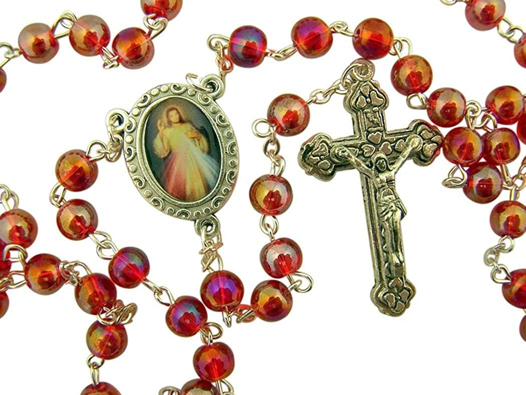 DTC Acrylic Prayer Bead Rosary with Catholic Saint Medal Centerpiece, 17 Inch