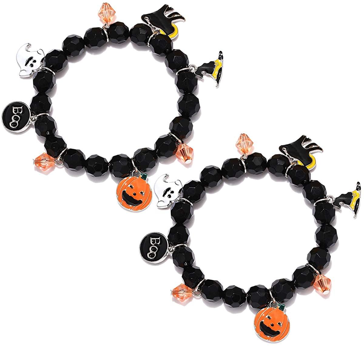 NVENF 2PCS Halloween Bracelets for Women Girls Pumpkin BOO Ghost Charm Bracelets Black Bead Stretch Bracelet Set Costume Party Gifts