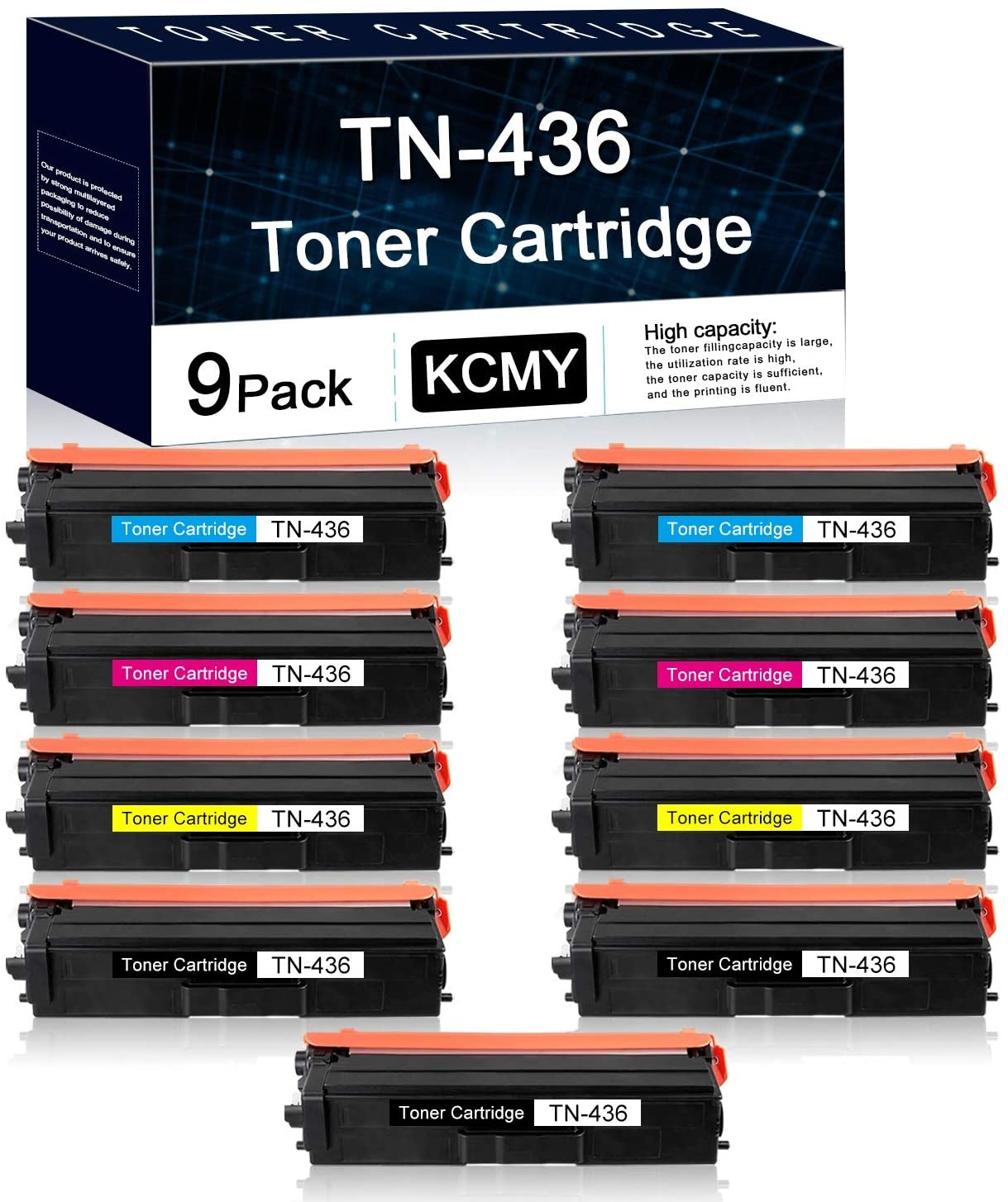 9 Pack TN436 (3BK+2C+2M+2Y) Compatible Toner Cartridge Replacement for Brother HL-L8260CDW L8360CDW L8360CDWT L9310CDW L9310CDWT L9310CDWTT DCP-L8410CDW MFC-L8610CDW Printers Toner