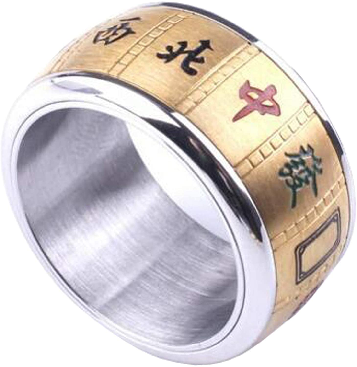 8mm Titanium Steel Gold Plated Rotatable Mahjong Ring Good Luck Rings for Men and Women Size 6-12