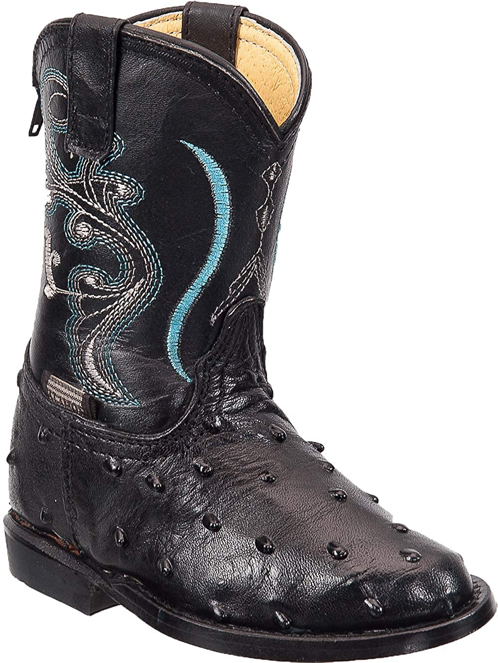 Kids Cowboy Boot Infant Toddler Ostrich Print Western Boot