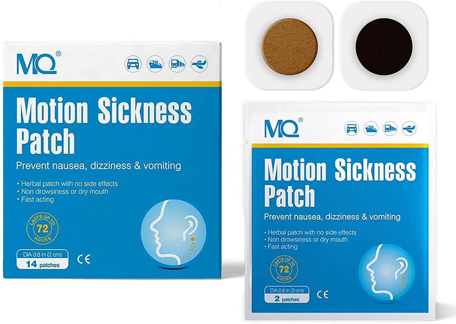 MQ 28ct Motion Sickness Patch for Car and Boat Rides, Cruise and Airplane Trips - Relieves Nausea, Dizziness & Vomiting from Seasickness, Fast Acting and No Side Effects