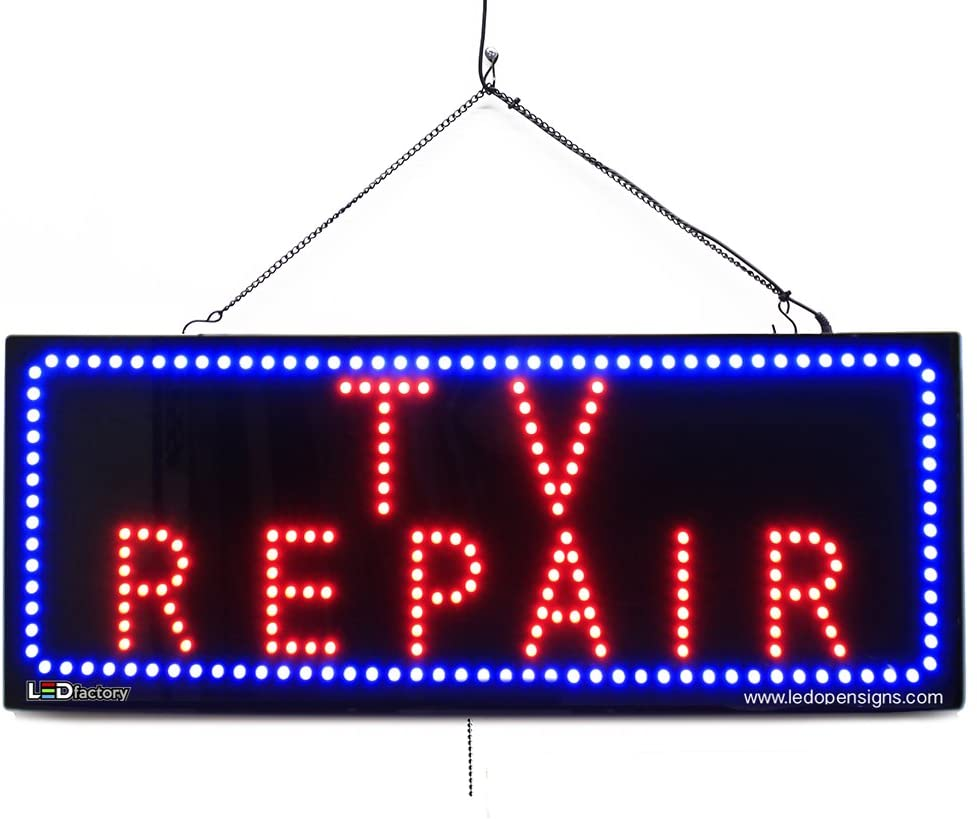 TV Repair LED Window Phone Shop Sign - Extra Bright LEDs - Can Be Seen Through Tinted Windows - Extra Large - 32 inches Wide (#2711)