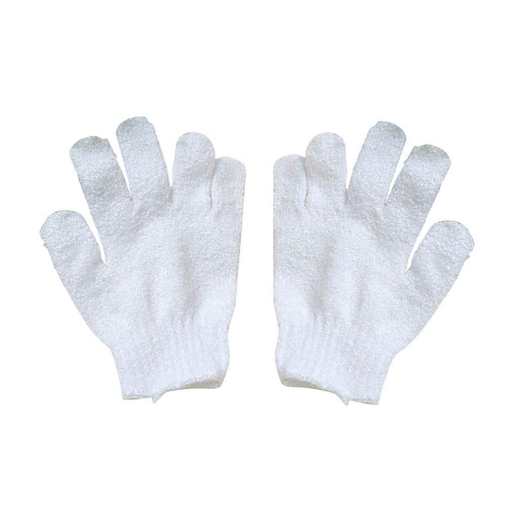 Frcolor 1 Pair Bath Exfoliating Mitt Glove Bath Pouf Scrubber Brushes Sponge Exfoliating Pad (White)