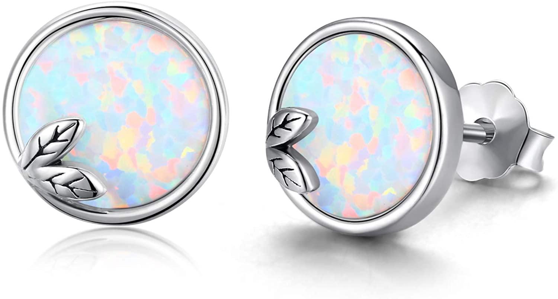Opal Mermaid Tail Stud TRISHULA 925 Sterling Silver Opal Stud Earrings for Women Girls Hypoallergenic Stud Ears/8mm Round Stud Earrings
