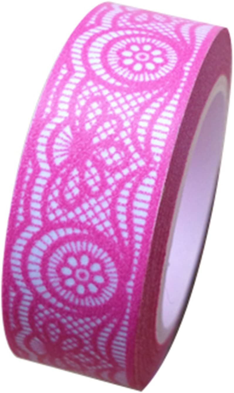 Dress My Cupcake Washi Paper Tape for Gifts and Favors, Hot Pink Fuchsia Lace