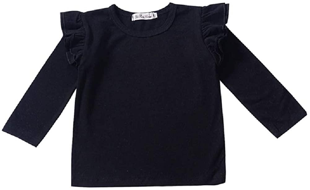 Kids Toddler Baby Girls Clothes Ruffle Solid Cotton Long Sleeve T-Shirt Top Basic Tees Plain Shirt