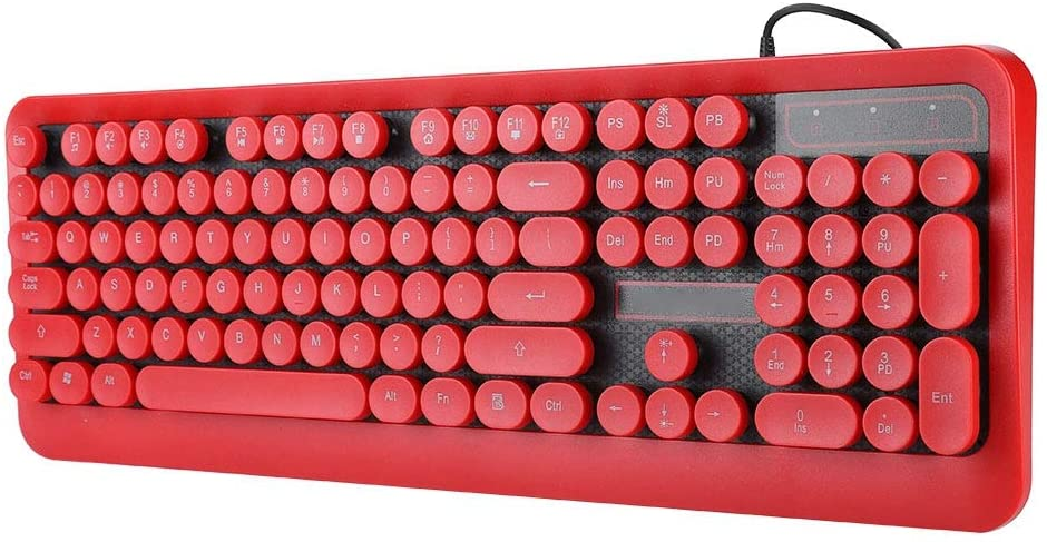 DEWIN M300 Wired Gaming Keyboard,Retro Round Caps Backlit Keyboard for Personal Computers Laptop Gamers(3-red)