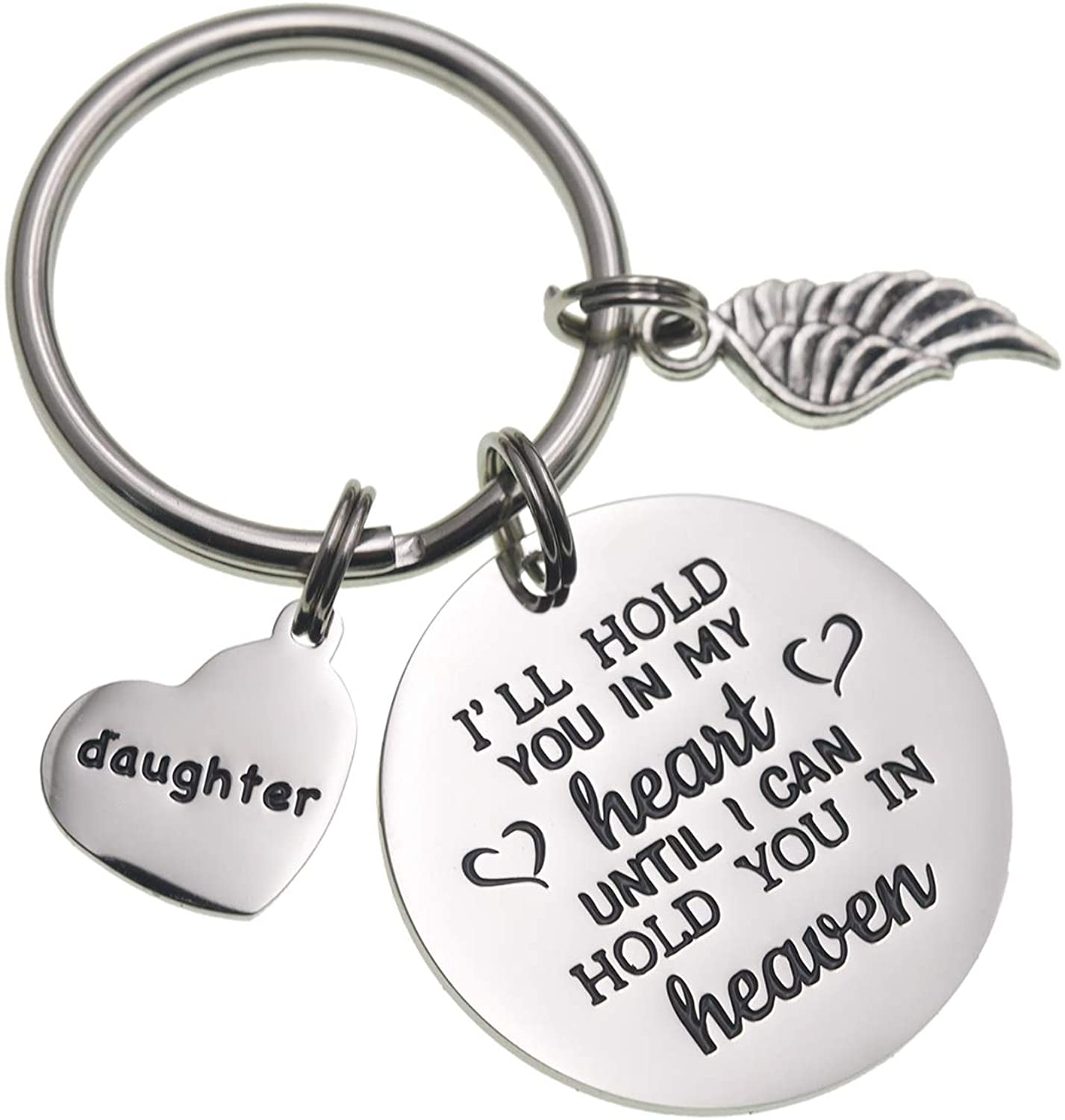 Memorial Keychain I'll Hold You in My Heart Until I Can Hold You in Heaven Sympathy Jewelry Loss Jewelry Gifts in Memory of Loved One