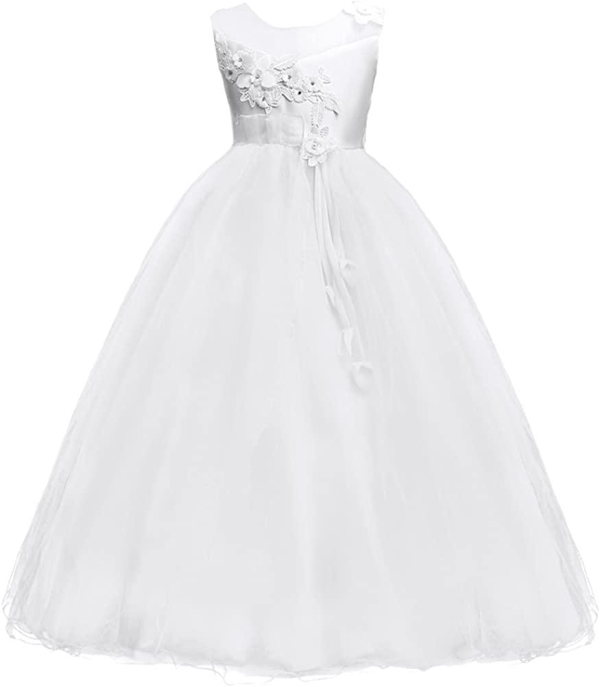 MYRISAM Girls Princess Tulle Embroidery Flower Pageant Dress Wedding Birthday Sleeveless Floor Length Dance Evening Gown