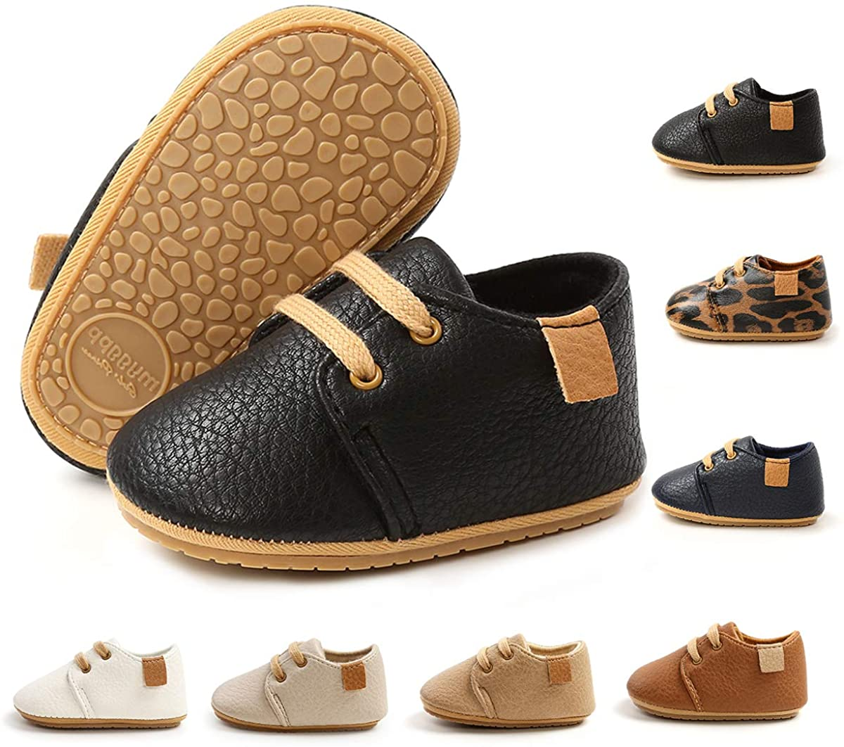 BEBARFER Toddler Baby Boys Girls Shoes Infant Moccasins Anti-Slip Sole Newborn Oxford Loafers Sneakers Wedding Uniform Dress Shoes First Walking Crib Shoes