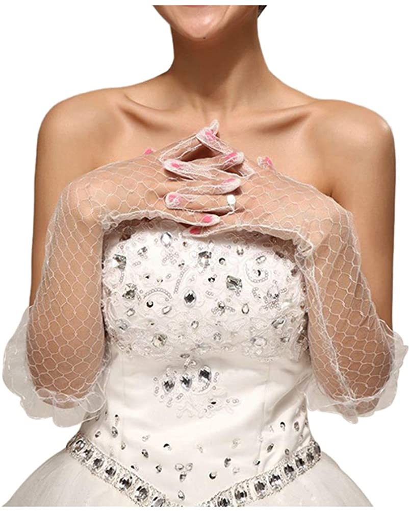 Women Fingerless Gathered Lace Sequins Satin Bridal Party Gloves Cheap Gloves
