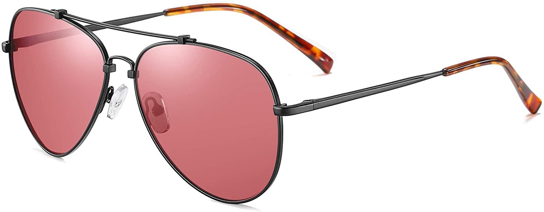 Sunglasses for Men Women Aviator Polarized Metal Mirror UV 400 Lens Protection