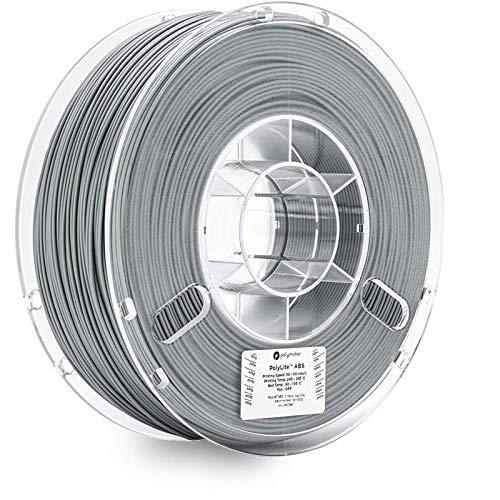 Polymaker PolyLite 3D Printer Filament, ABS Filament, 1.75mm Filament, 2.2lb(1Kg) Grey Filament [Random Outer Packaging]