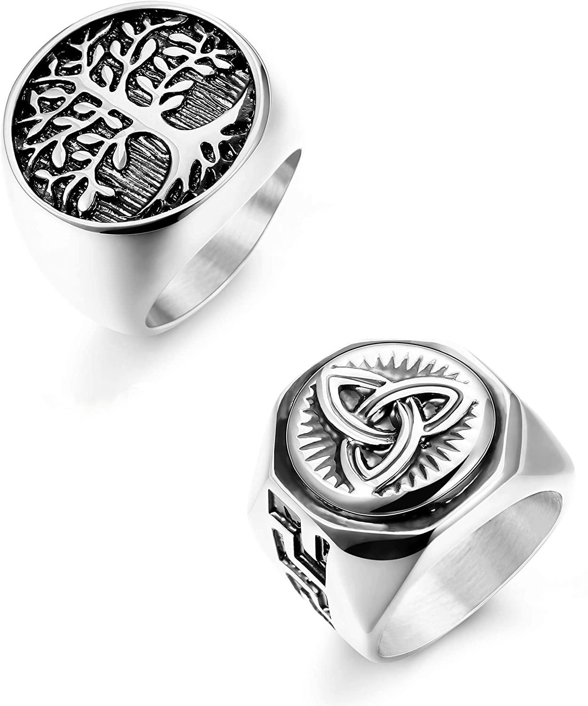 Hanpabum 2Pcs Stainless Steel Rings for Men Celtic Knot Signet & Tree of Life Rings Set Size 7-13