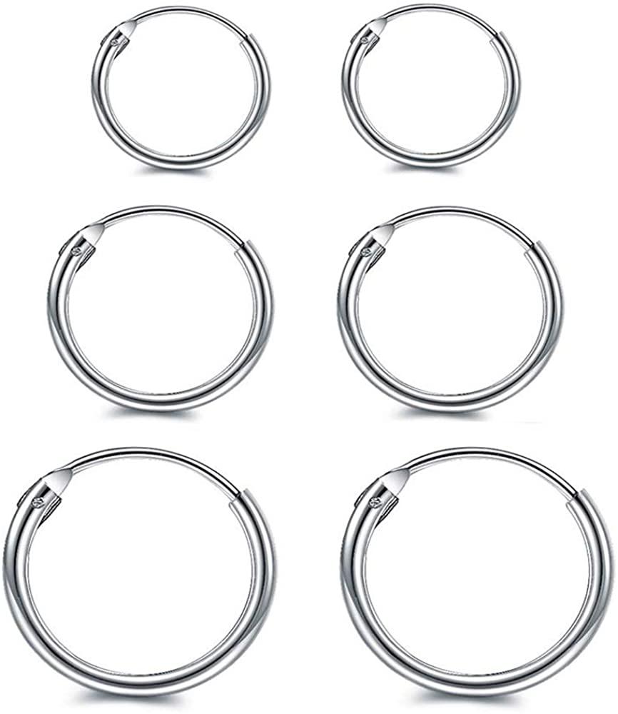 Fomissky-sisa 925 Sterling Silver Hoop Earrings for Women Men Cartilage, Hypoallergenic Tiny Huggie Hoop Earrings Jewelry 8mm 10mm 12mm 14mm