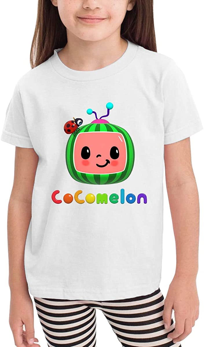 Teenagerghlovexc COC-omelon 2-6 Years Old Boys & Grils Short Sleeve Crewneck Casual Fashion T-Shirt Black