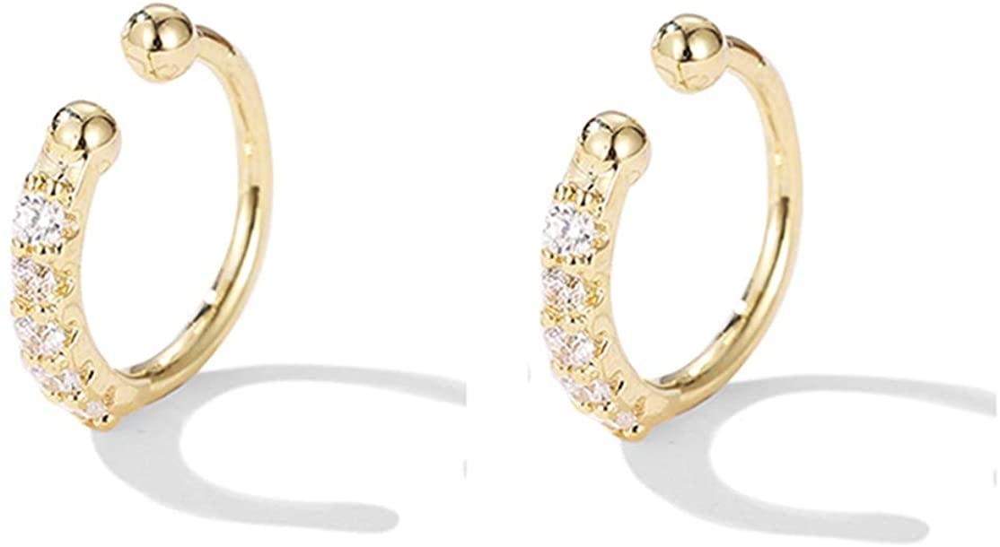 SLUYNZ Sterling Silver CZ Ear Cuff Clip On Earrings for Women No Piercing Cartilage Earrings