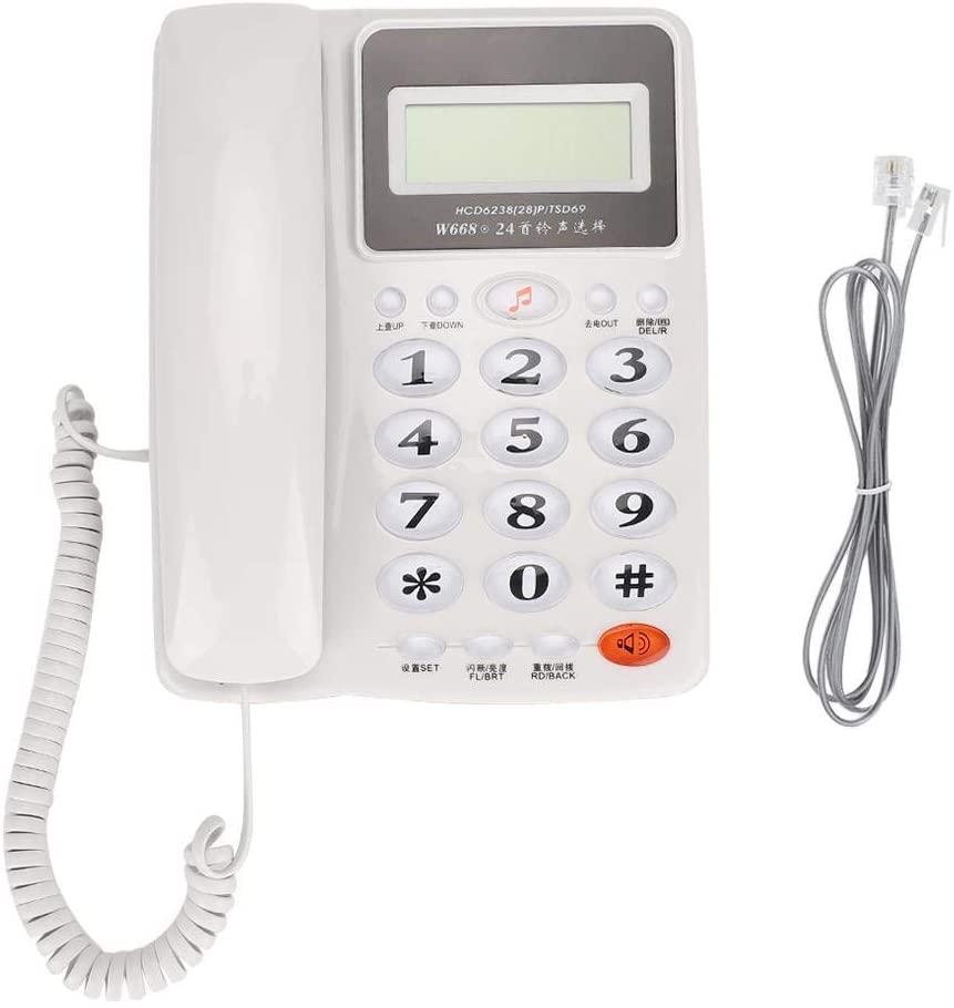 AMONIDA Business Office Home Use Landline Fixed Telephone Desk Phone with Screen Backlight (White)