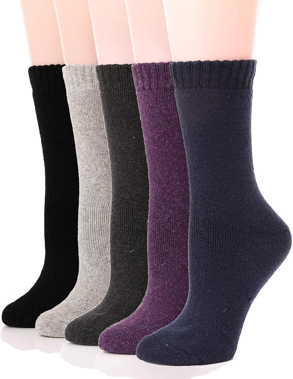 ProEtrade Womens Wool Socks Thermal Heavy Thick Soft Warm Fuzzy Work Winter Socks 5 Pack