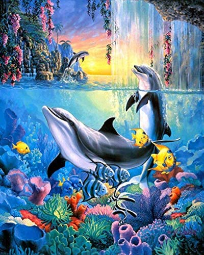 Minone 5D Diamond Painting Kits Full Drill for Adults, DIY Dolphin Crystal Diamond Painting Rhinestone Embroidery Pictures Arts Craft Gift for Home Wall Decor Christmas Birthday Gifts 11.8×15.8 inches