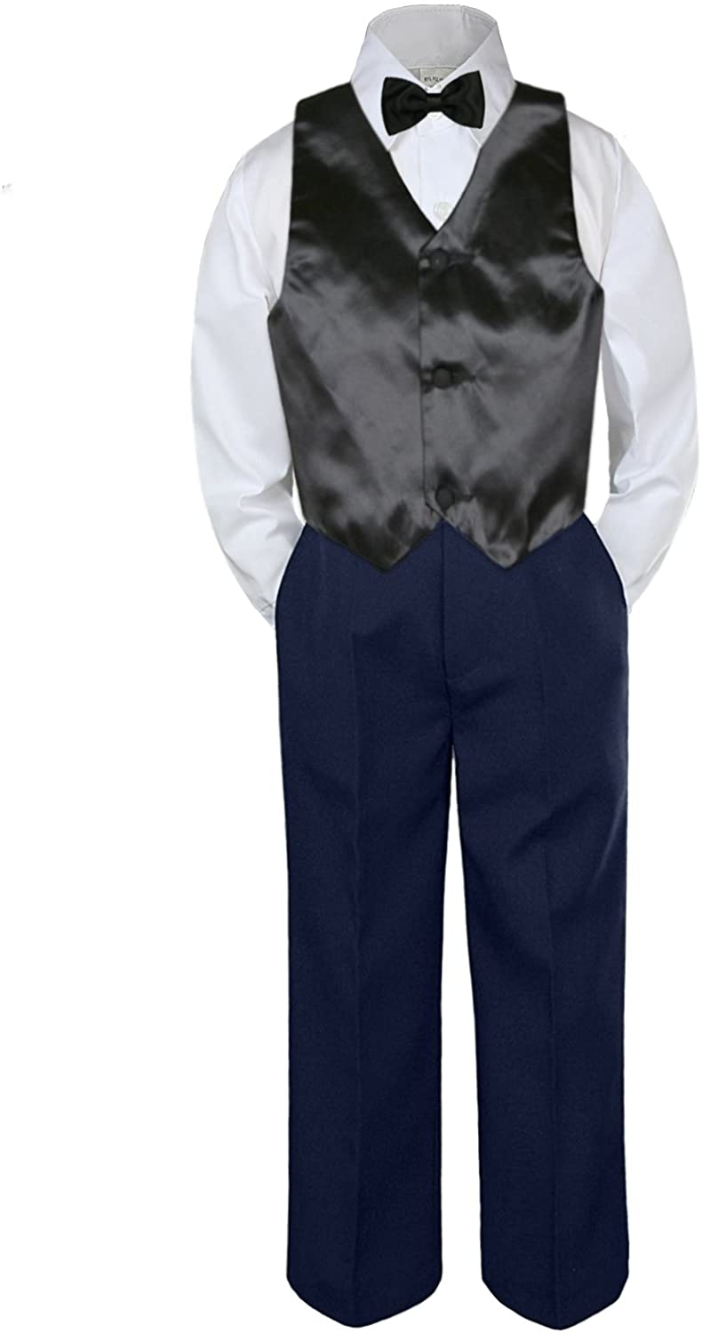 4pc Baby Toddler Boy Party Suit Tuxedo Navy Pants Shirt Vest Bow tie Set 5-7