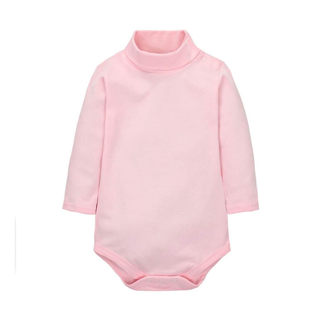 CuteOn Baby Boys Girls Solid Color Basic Turtleneck Cotton Bodysuit Jumpsuit Pink 18 Months