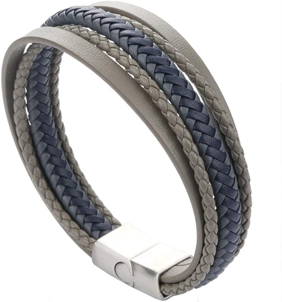 HHGEE XING Mens Bracelet Leather Braided Bracelet with Magnetic Clasp Leather Bracelet for Men