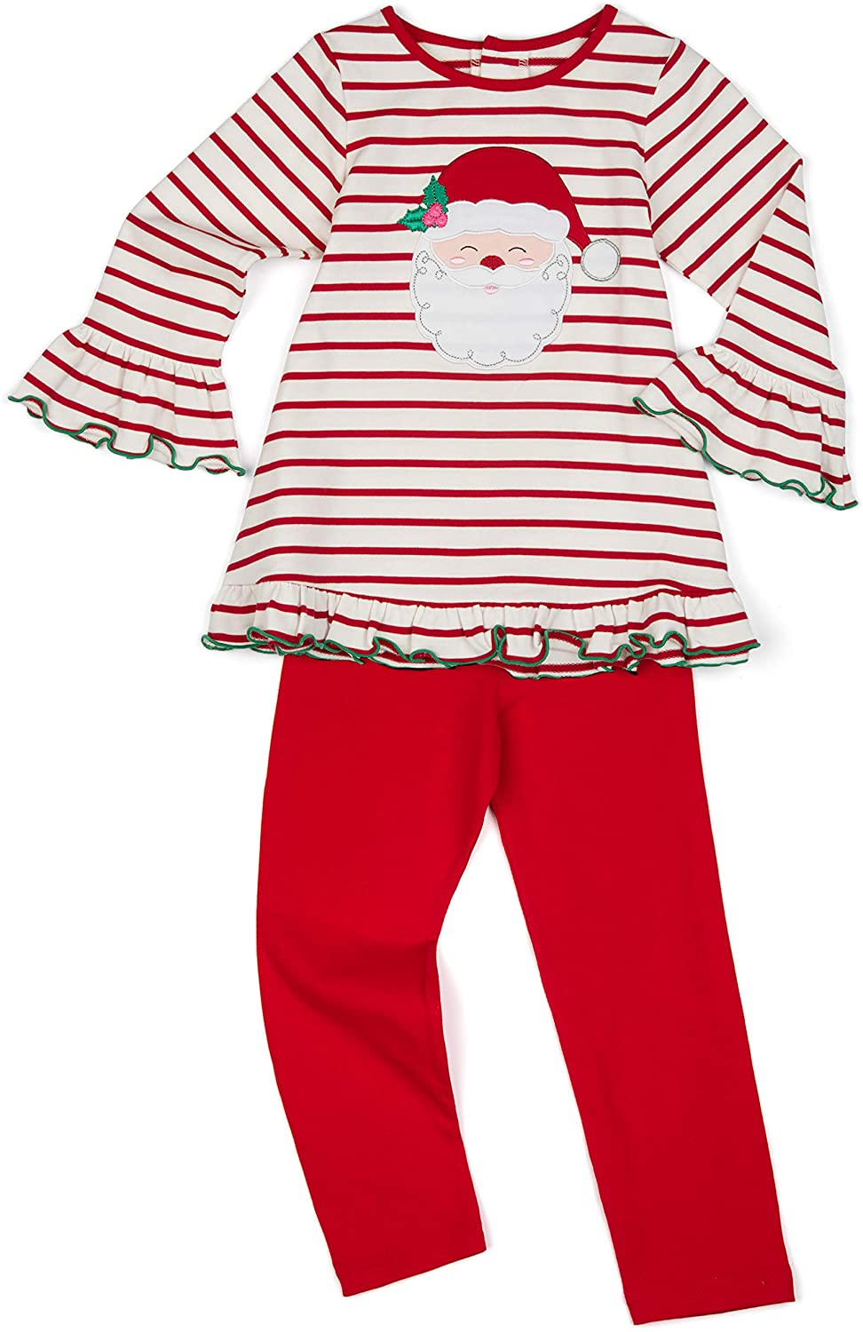 Good Lad Toddler Thru 4/6X Girls Red and White Striped Knit Top with Santa Applique Legging Set