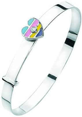 Studs Galore 0.01 Cts SI2 - I1 Clarity and I-J Color Diamond Enamel Heart Childrens Bangle in 14K White Gold