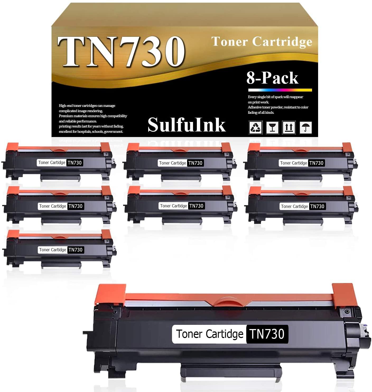 Compatible TN730 TN-730 Toner Cartridge (Black,8-Pack) Replacement for Brother HL-L2350DW L2370DW/DWXL L2390DW L2395DW DCP-L2550DW MFC-L2710DW L2750DW L2750DWXL Laser Printer.
