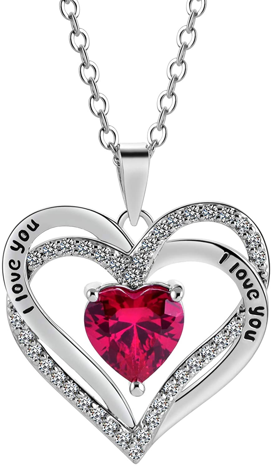 Tian Love Heart Necklace Double-Deck Plated Platinum Lovestone Pendant Necklace for Women with 5A Cubic Zirconia Jewelry