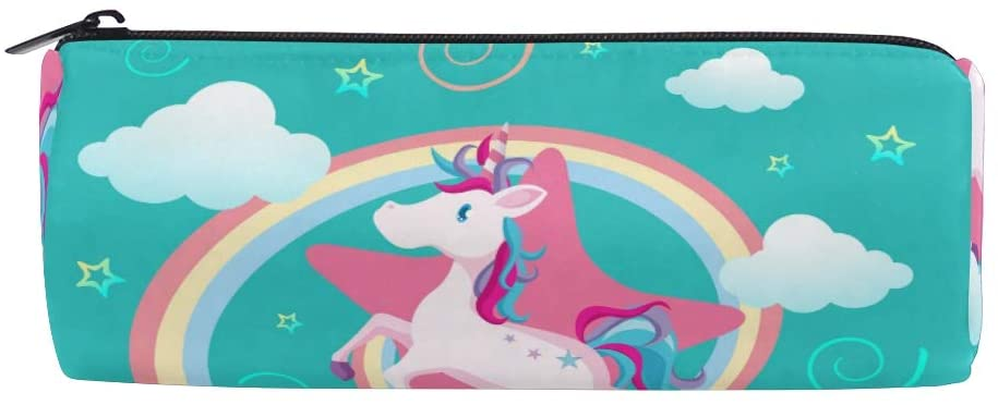 Pencil Pen Case Durable Pen Holder Rainbow Unicorn Pouch Stationery Bag Coin Purse Cosmetic Makeup Bag for Middle High School Office College