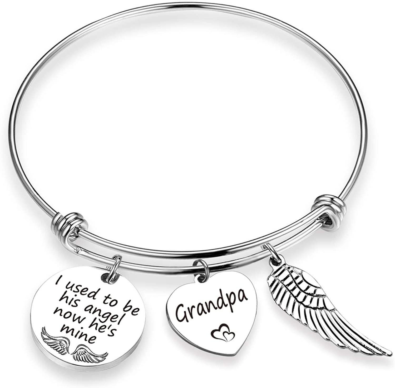 EIGSO Memorial Bracelet I Used to Be His/Her Angel Bracelet in Memory of Loved One Dad, Mom, Grandma, Grandpa Sympathy Gift …