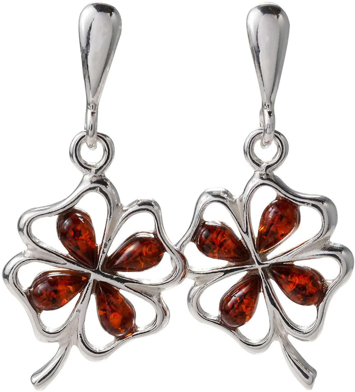 Sterling Silver and Baltic Amber Post Back Honey Amber Shamrock Earrings