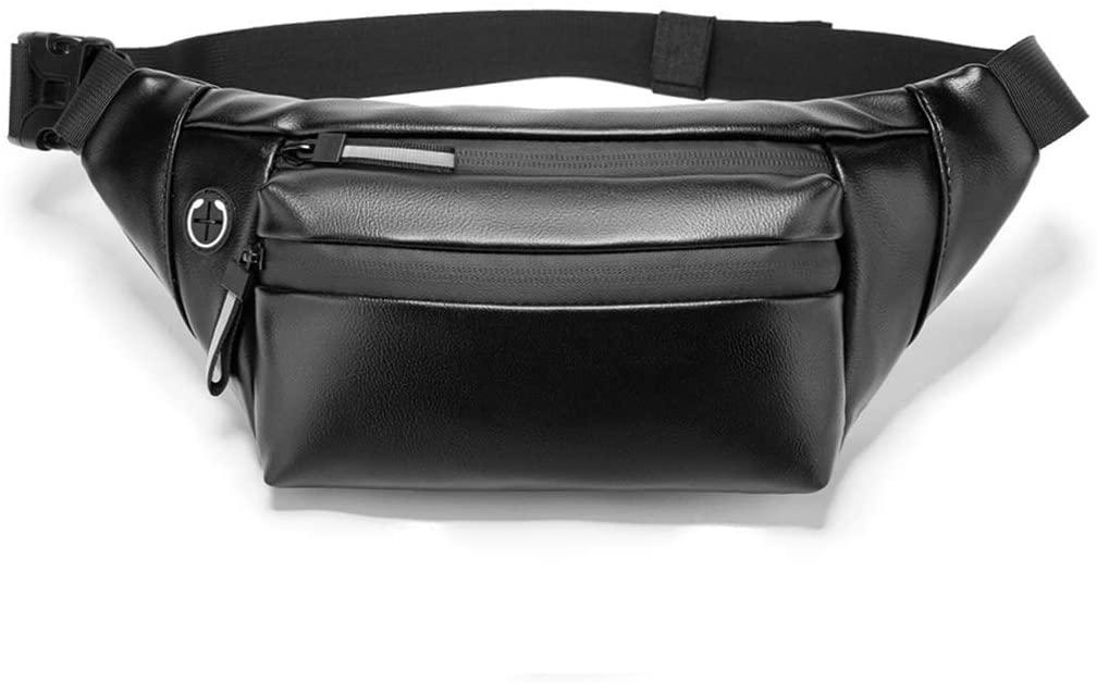 minansostey Fashion Men PU Waist Fanny Pack Belt Bag, Pouch Travel Hip Bum Shoulder Bags, Purse