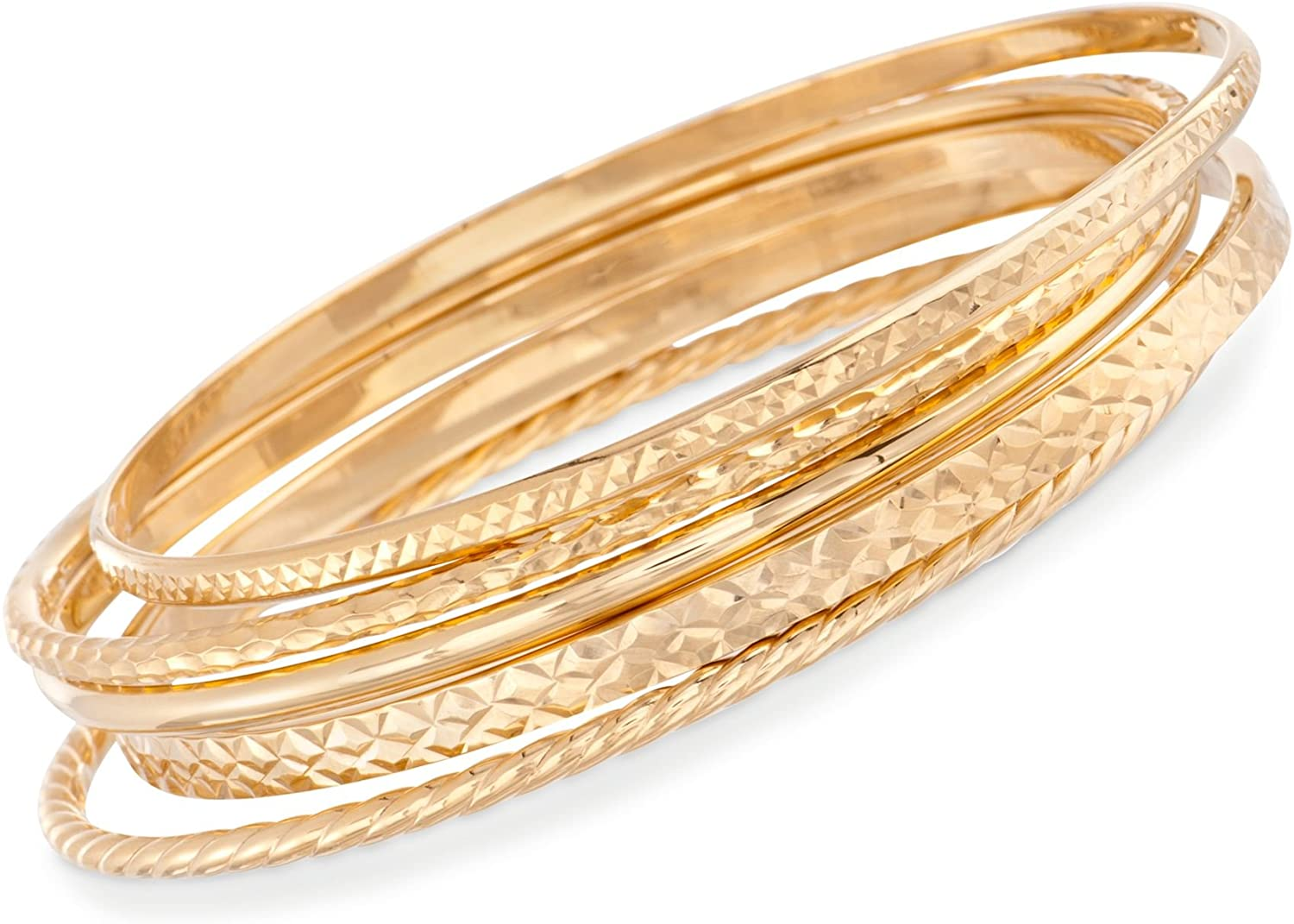 Ross-Simons 18kt Gold Over Sterling Jewelry Set: 5 Textured Bangle Bracelets. 7 inches