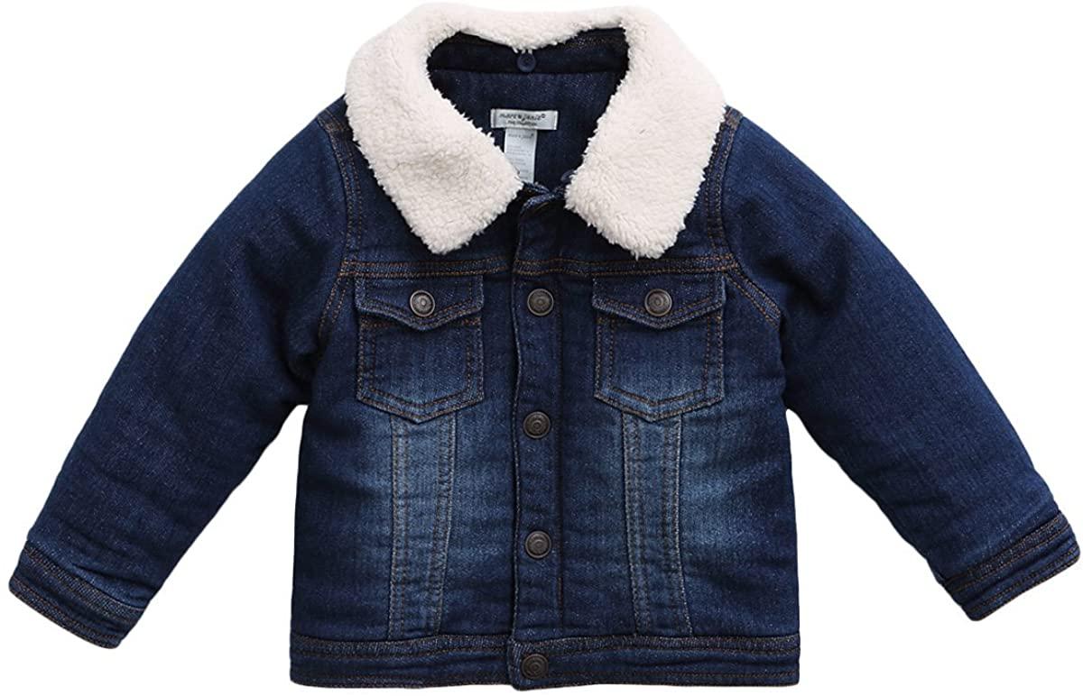 marc janie Little Boys Girls' Thick Denim Jacket Baby Fleece Lined Jacket Coat